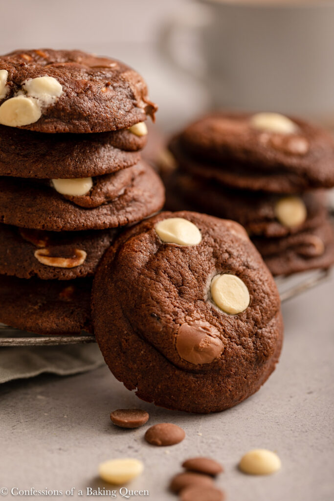 close up of baileys double chocolate cookies on a light grey surface