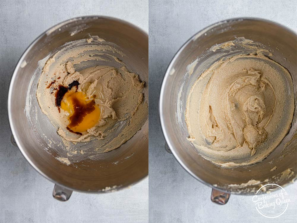 egg and vanilla added to creamed butter and sugar mixture in a metal bowl on a grey surface