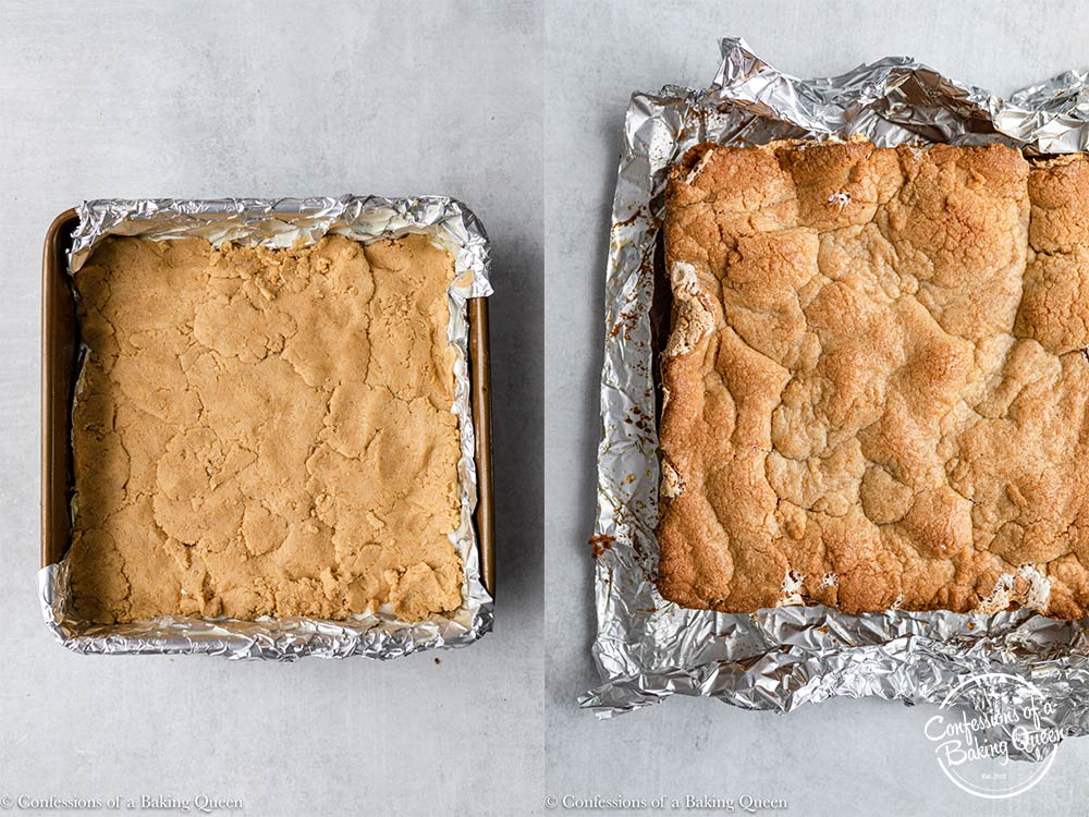 smores bars before and after cooking in a foil lined pan then on a grey surface