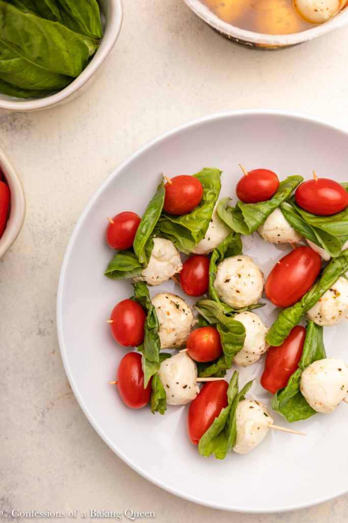 plate full of Caprese Skewers