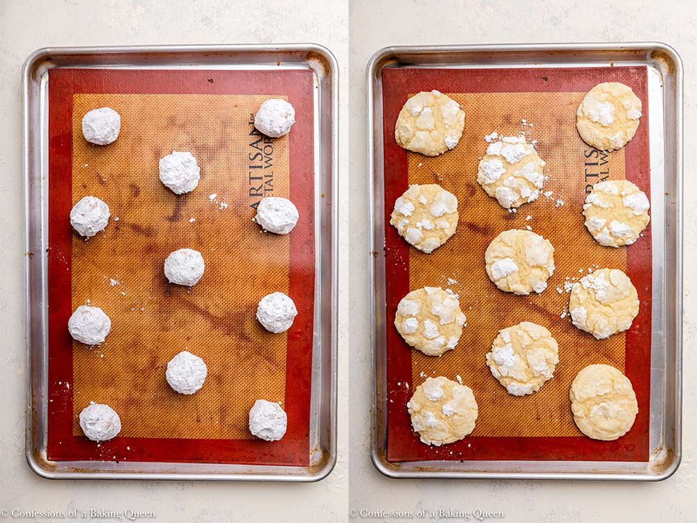 lemon crinkle cookies before and after baking on a silpat lined tray