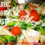 Garlic Veggie Pasta close up in a metal pan