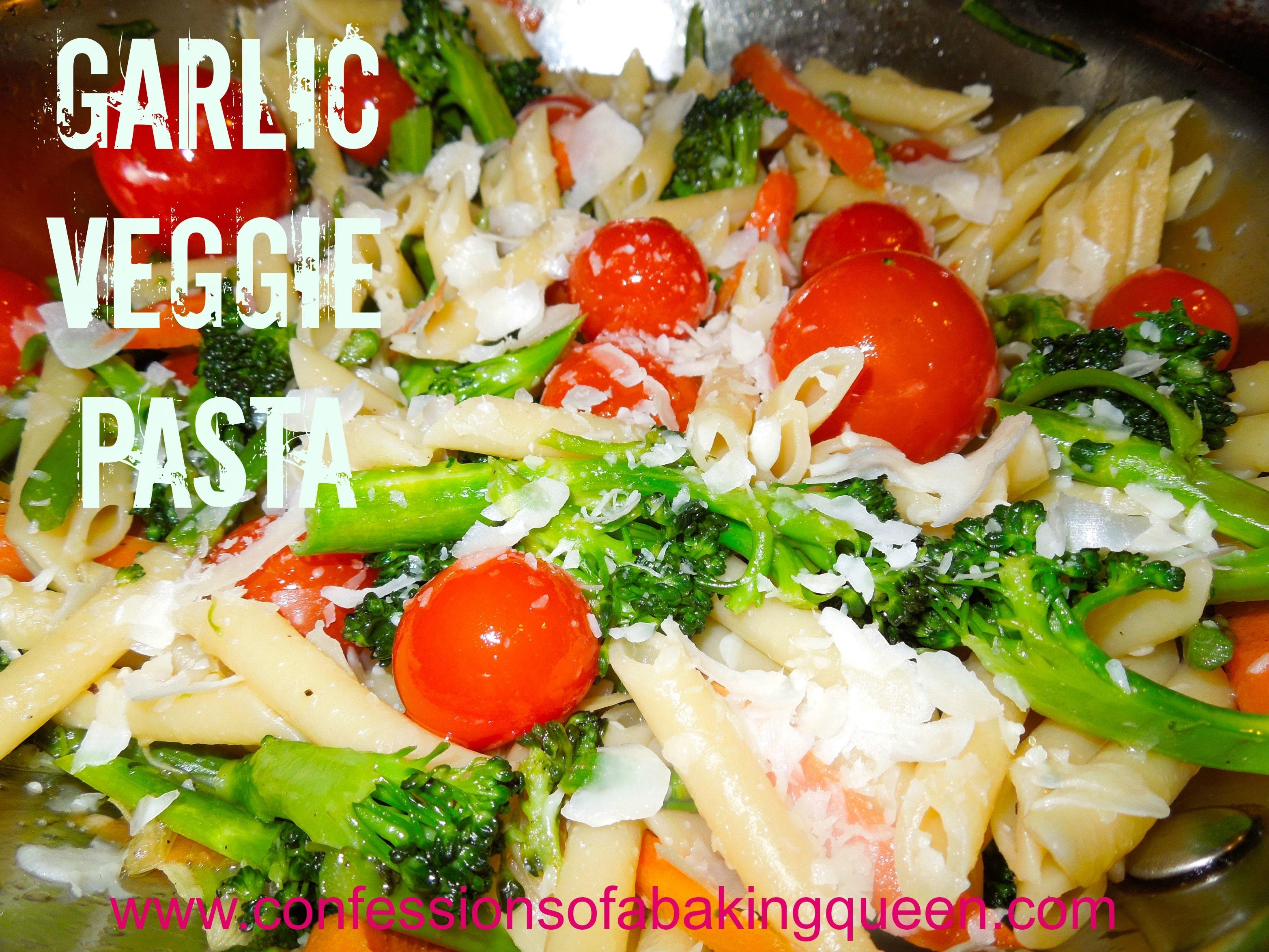 Garlic Veggie Pasta close up in a metal pan