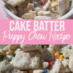 cake batter puppy chow with sprinkles