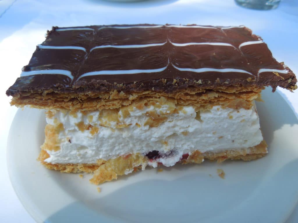 napoloen on a white plate from Andersen\'s danish bakery in Santa barbara