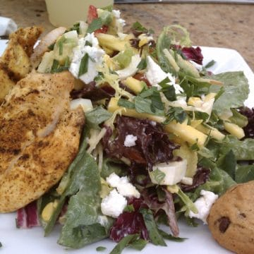 salad with chicken and a cookie from pain du monde