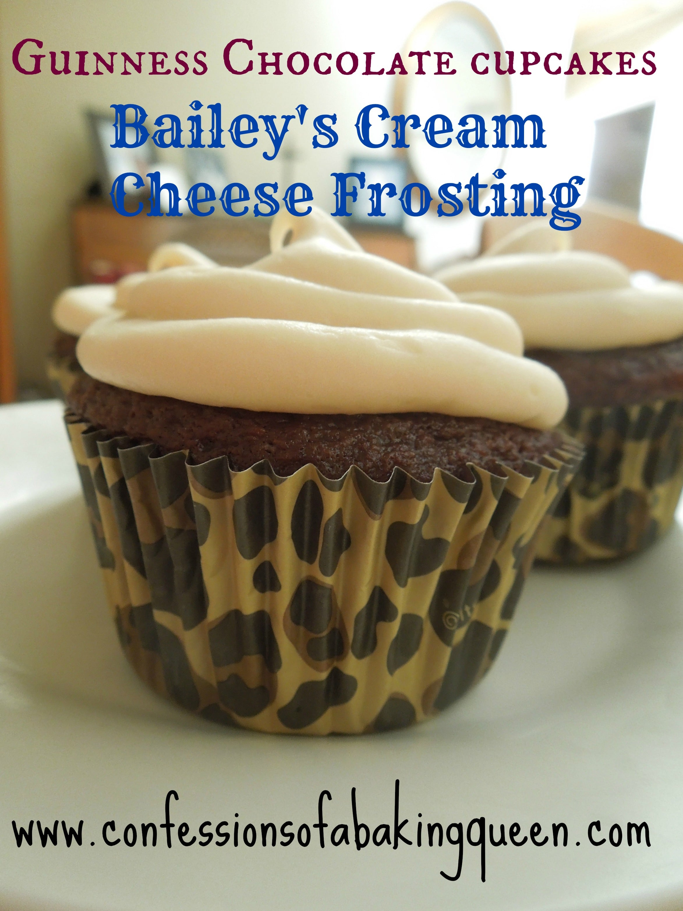 Guinness chocolate Cupcake w/ a Bailey's Cream Cheese Frosting