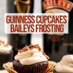 baileys frosted guinness chocolate cupcakes next to a bottle of Guinness and Baileys