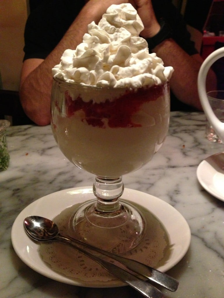 frozen custard served in a large glass from the stinking rose