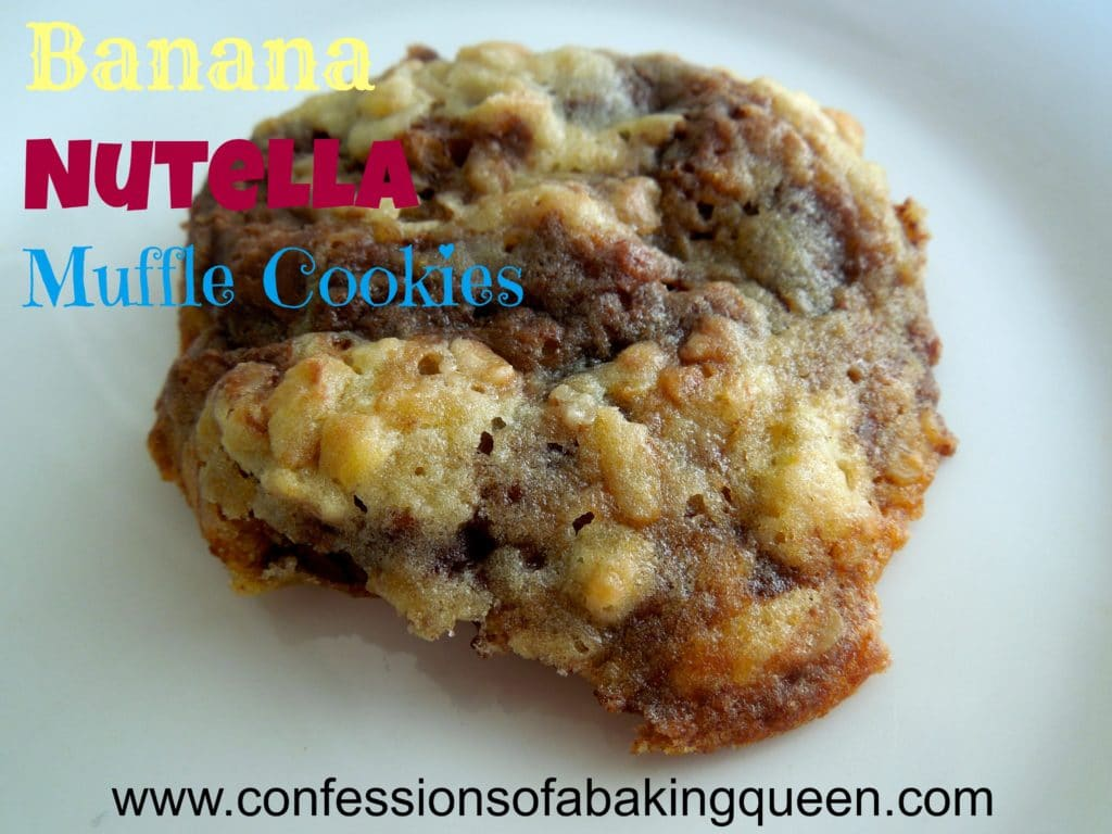 banana nutella muffle cookie on a white plate