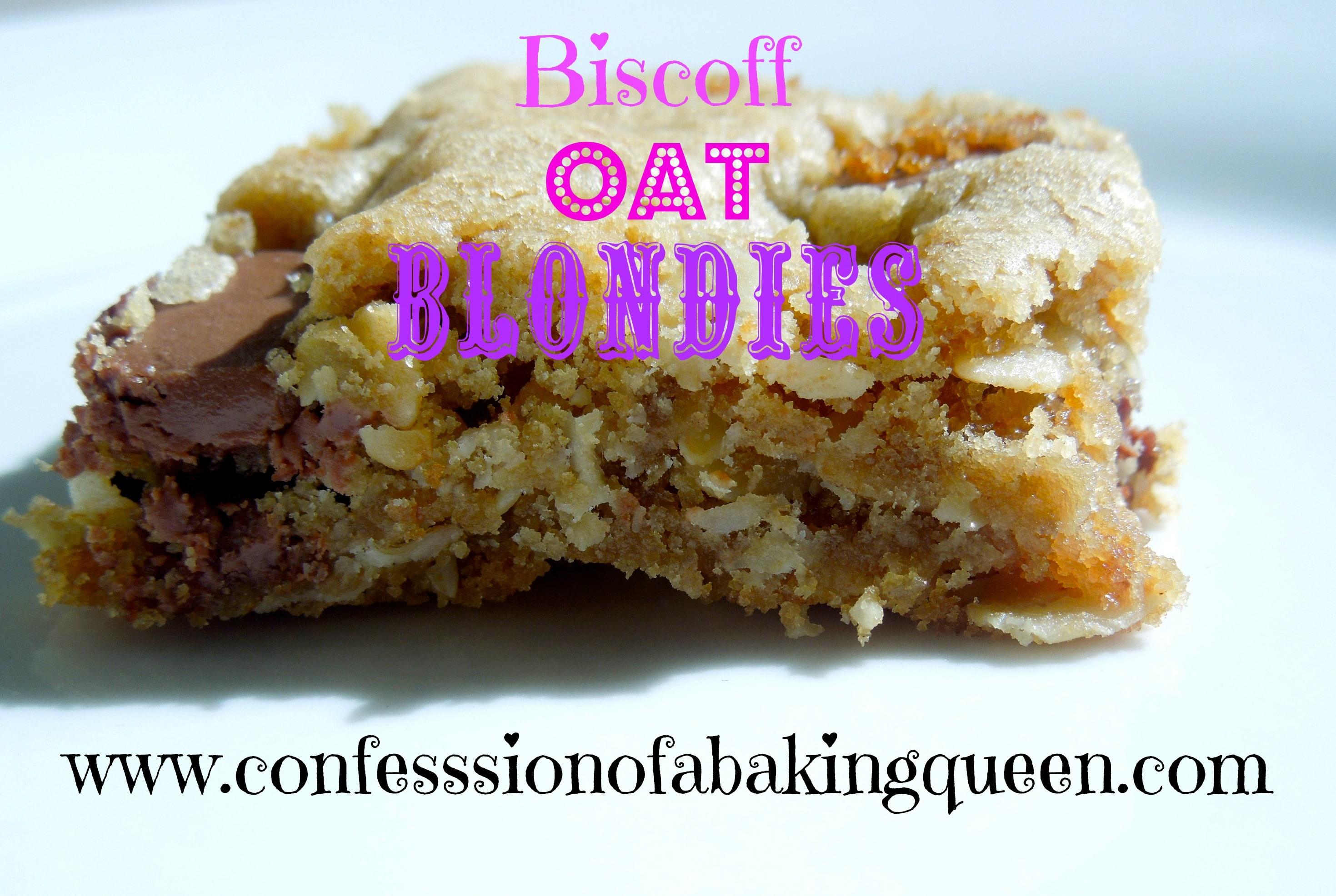 Biscoff Oat Blondies www.confessionsofabakingqueen.com
