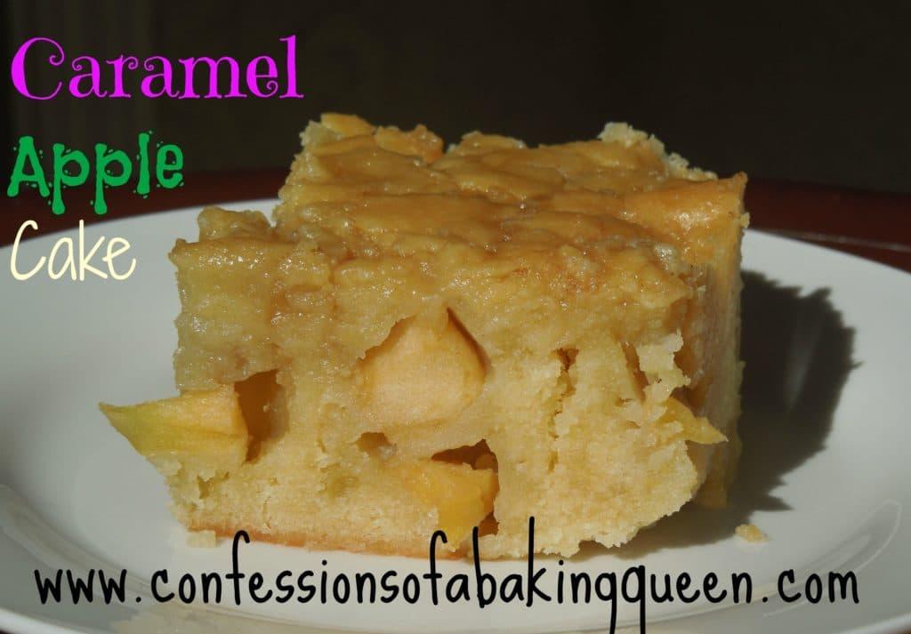 caramel apple fruit cake on a white plate