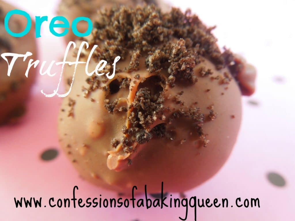 oreo truffle close up on a pink and black polka dot background