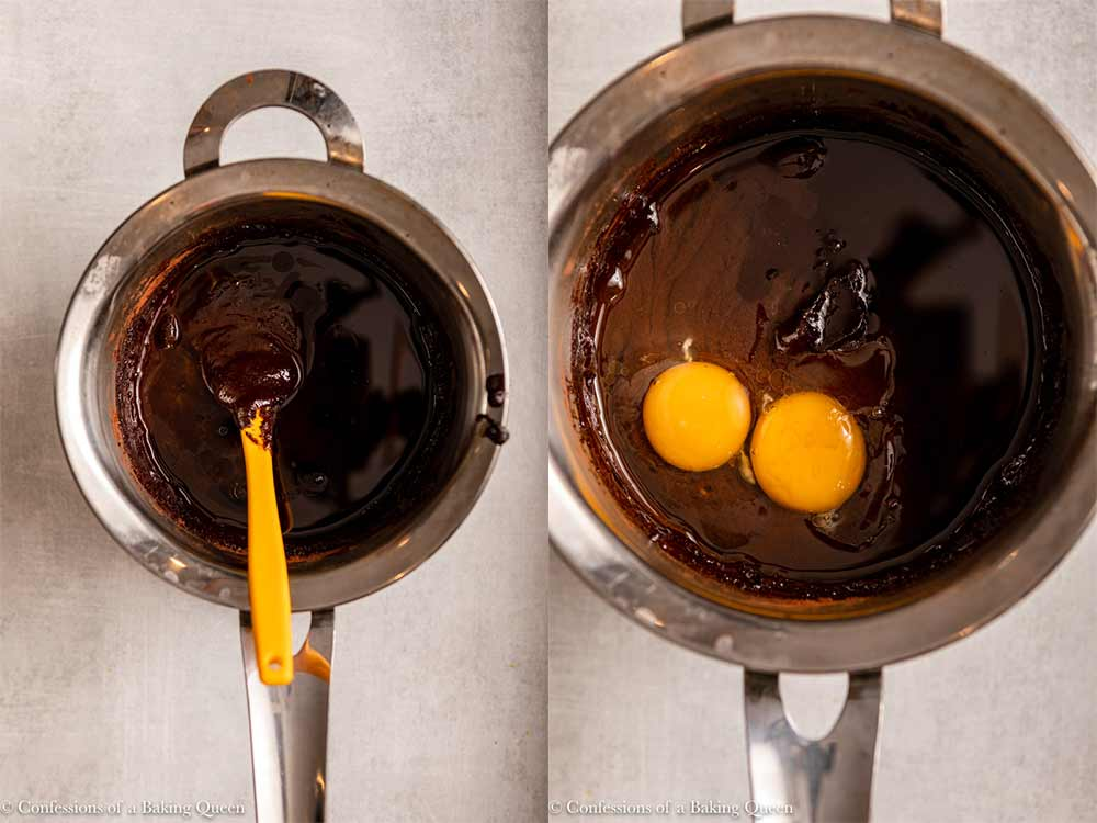 oil added to wet brownie ingredients then eggs and vanilla added inside a metal pot on a light grey surface
