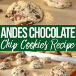andes chocolate chip cookies on a silpat lined baking sheet