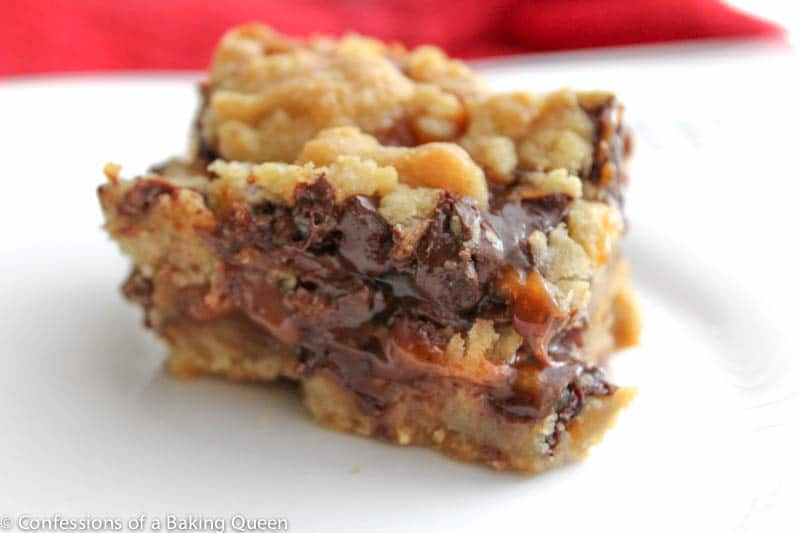 Salted Caramel Stuffed Chocolate Chip Cookie Bars