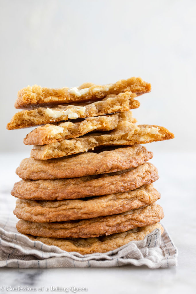 stack of white chocolate chip cookies