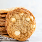 closeup of a white chocolate chip cookie