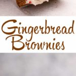 three cream cheese frosted gingerbread brownies