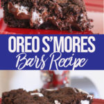 Oreo smores bars on a red plate