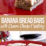 Banana Bread Bars with Cream Cheese Frosting on a red plate