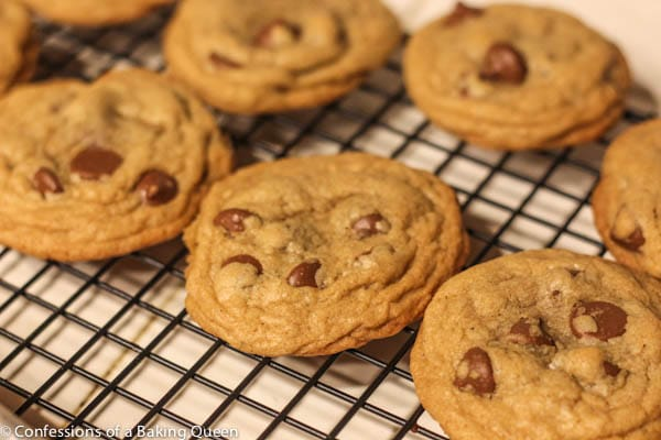 brown butter chocolate chip cookies baked and cooling on a wire rack