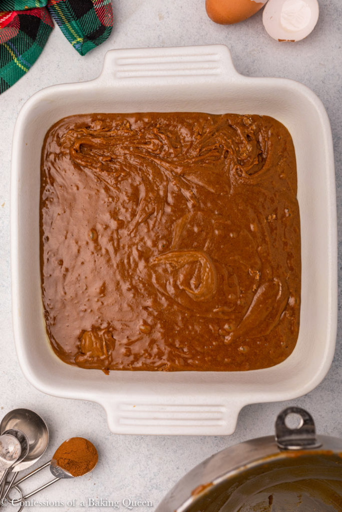 gingerbread brownies in a white baking dish