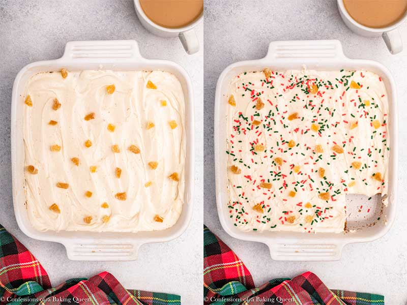 gingerbread brownies with cream cheese frosting and sprinkles