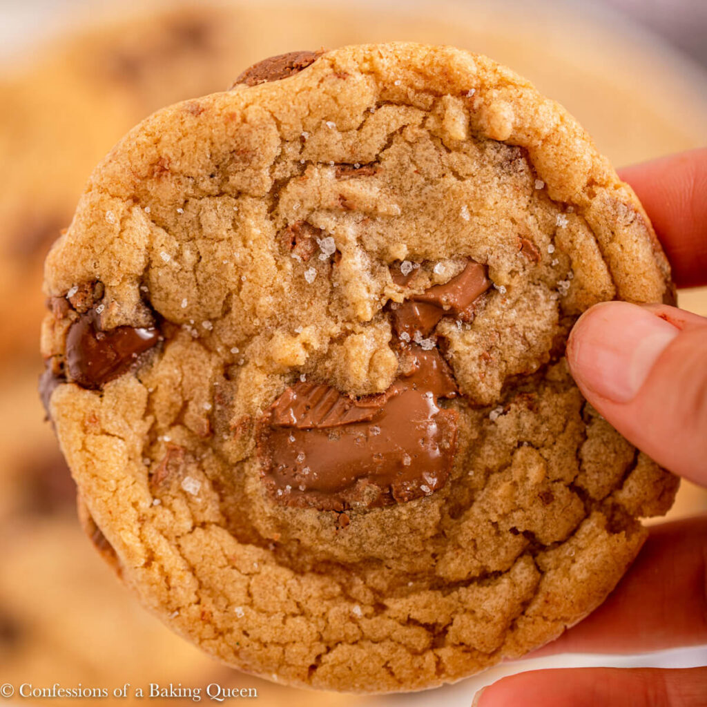 hand holding a brown butter chocolate chip cookie