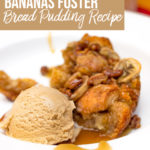 bananas foster bread pudding with coffee ice cream in a large white bowl