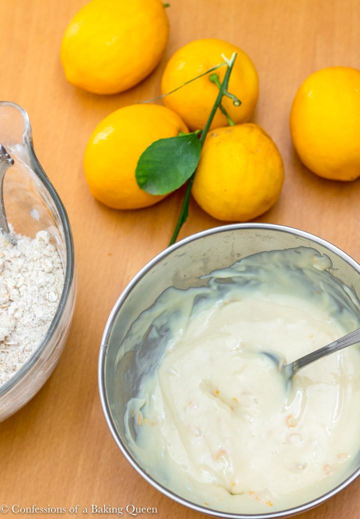 lemon cream mixture in a silver bowl for a lemon crumb bar recipe
