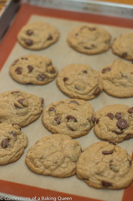 Cookie Butter Chocolate Chip Cookies baked on a silpat liner