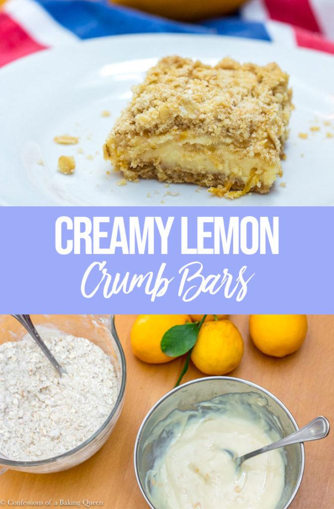 lemon crumb bars on a white plate