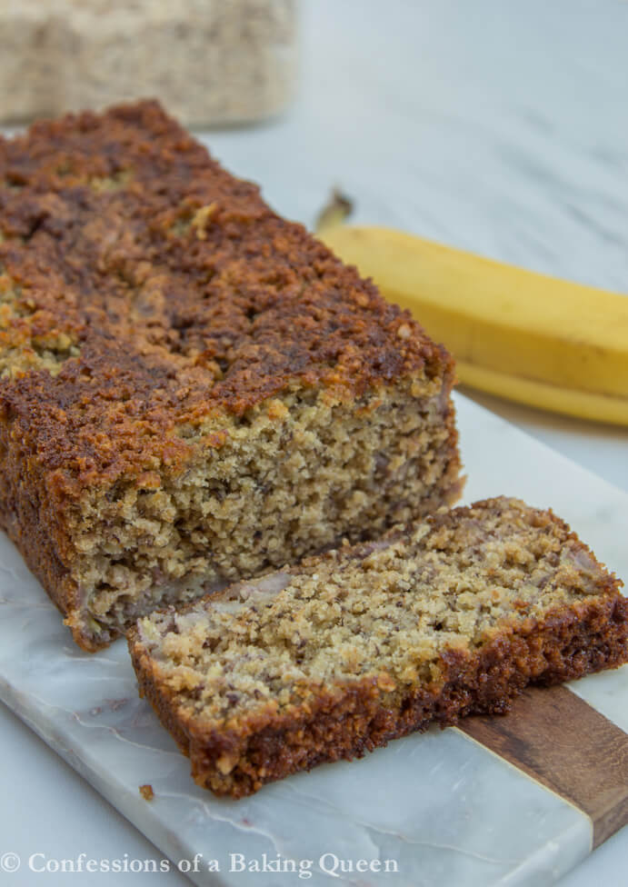 Oat Flour Banana Bread cut open