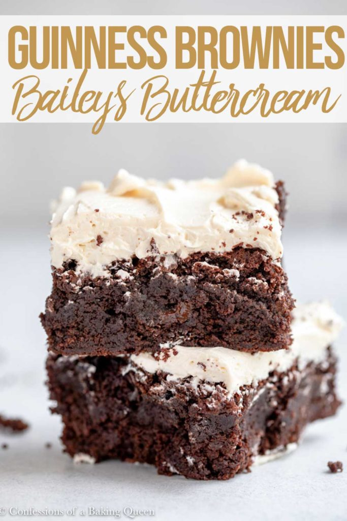 two guinness brownies with a baileys frosting stacked on top of each other