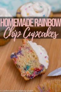 homemade rainbow chip cupcake cut in half