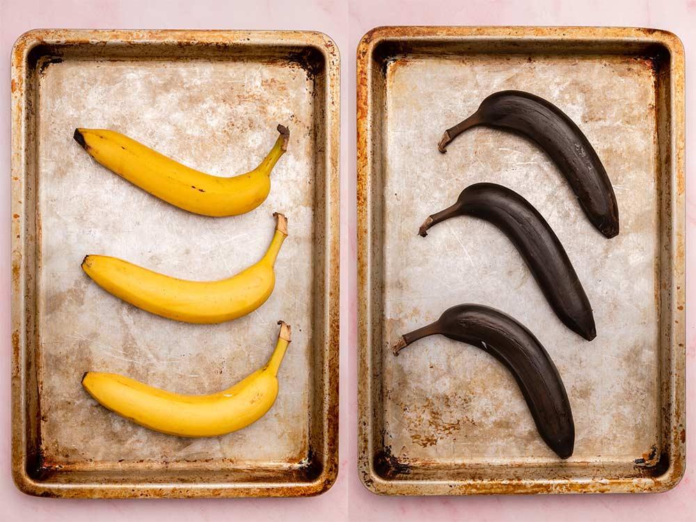 Yellow and Brown Bananas on a Sheet Pan