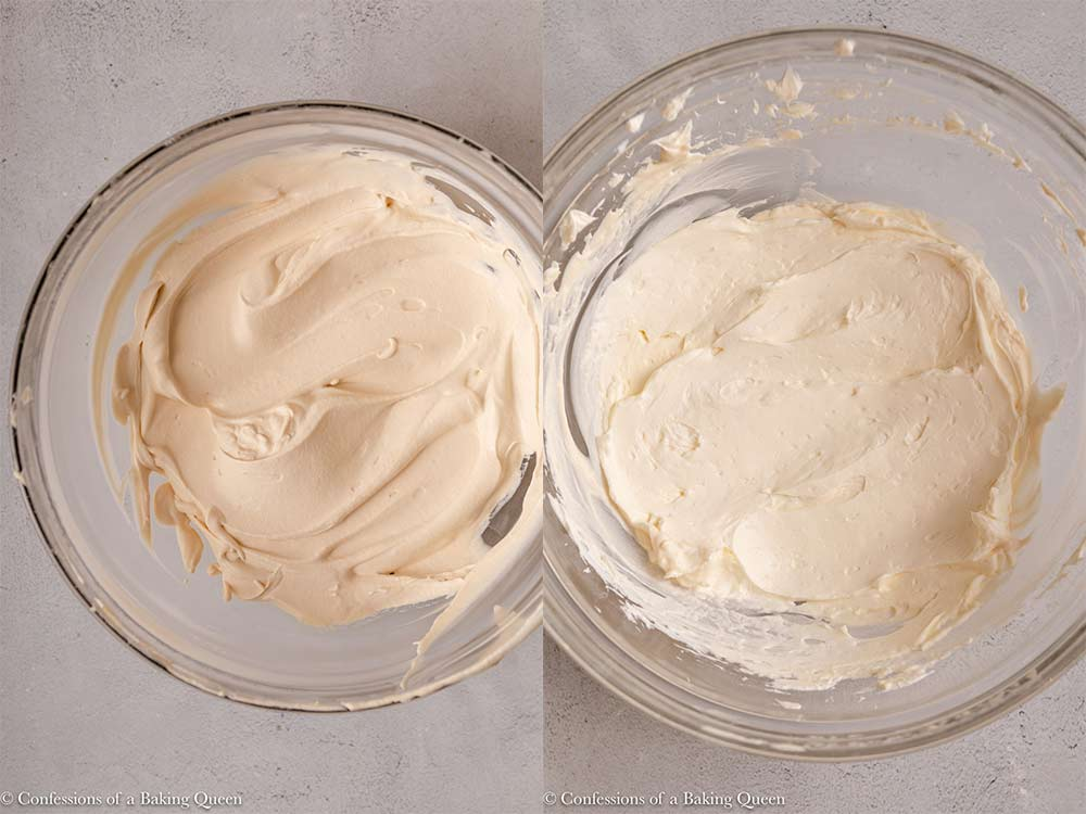baileys whipped cream and whipped cream cheese in glass bowl on a light grey surface