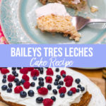 Baileys Tres Leches Cake on a blue plate with a bite taken out