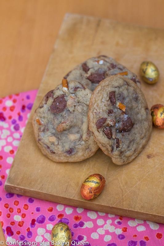 Butterfinger Egg & Pretzel Cookies