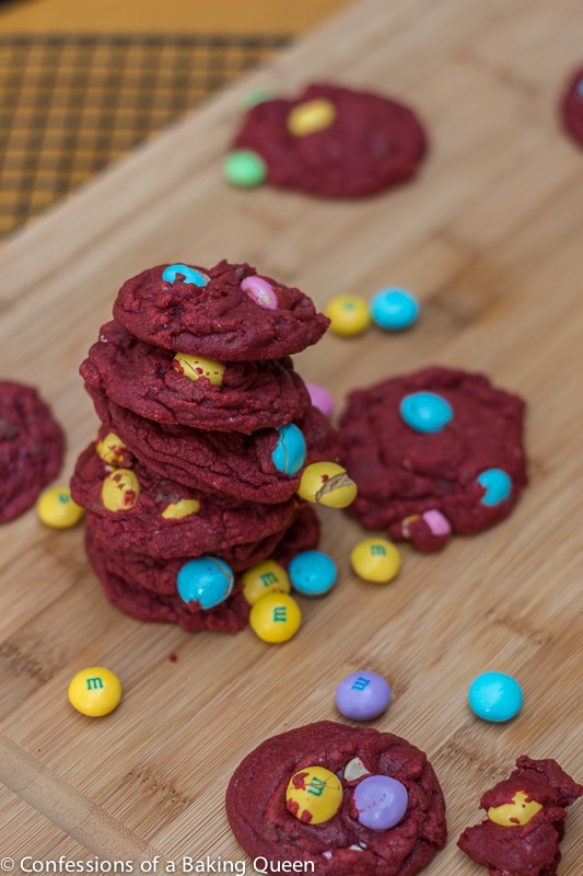 Red Velvet White Chocolate M&M cookies- Confessions of a Baking Queen