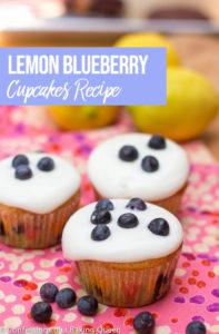 Lemon Blueberry Cupcakes on a pink napkin