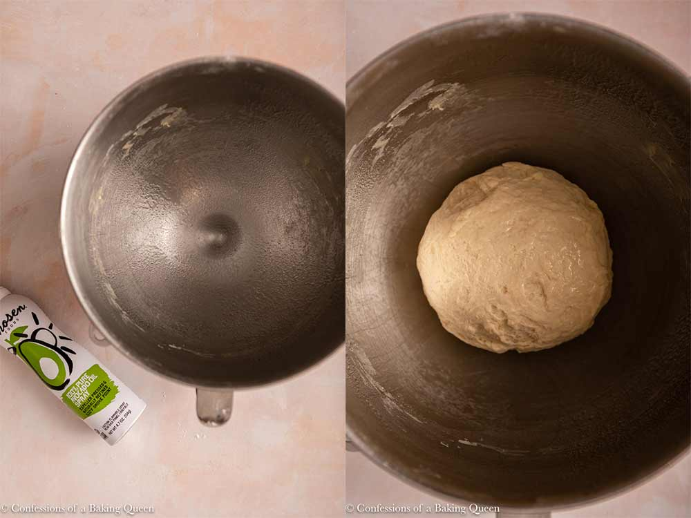 avocado oil greasing metal bowl with ball of dough in on a light pink surface