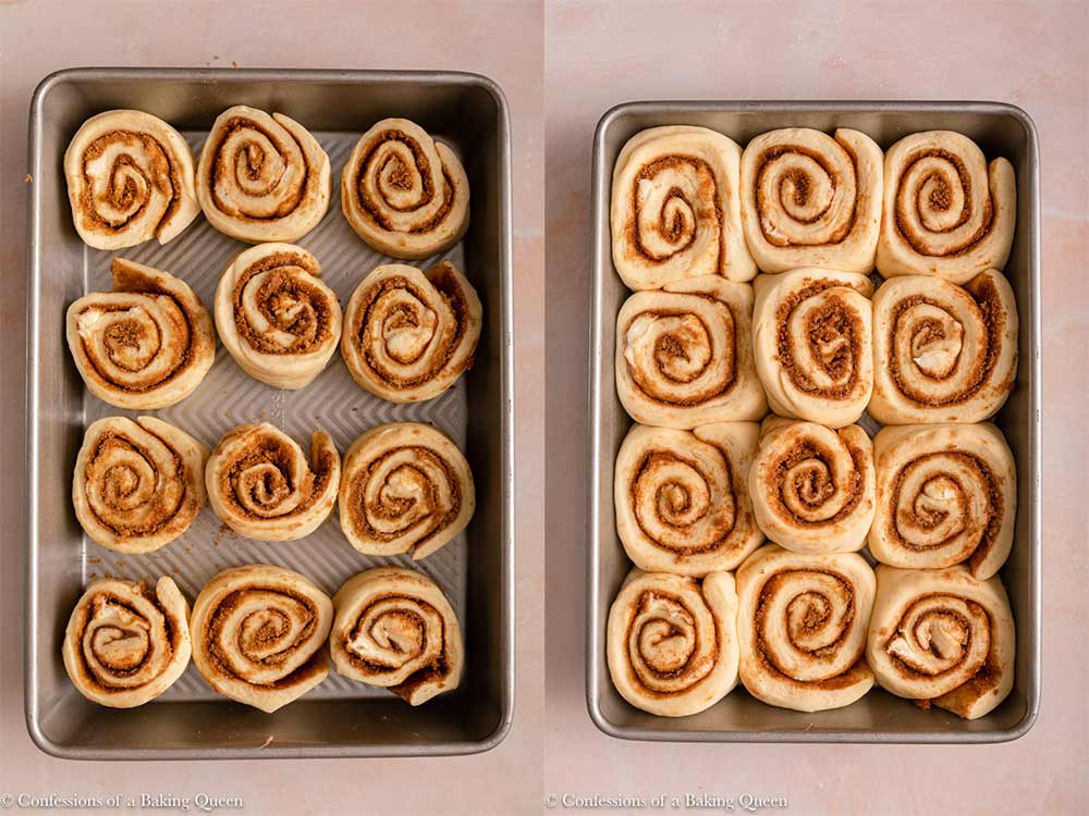 cinnamon rolls before and after rising in a metal pan on a light pink surface