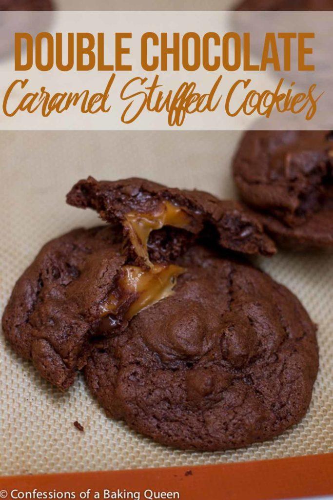 caramel stuffed double chocolate cookies