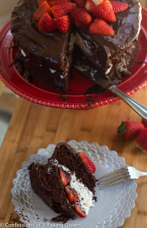 Strawberries and Cream Chocolate Cake- www.confessionsofabakingqueen.com