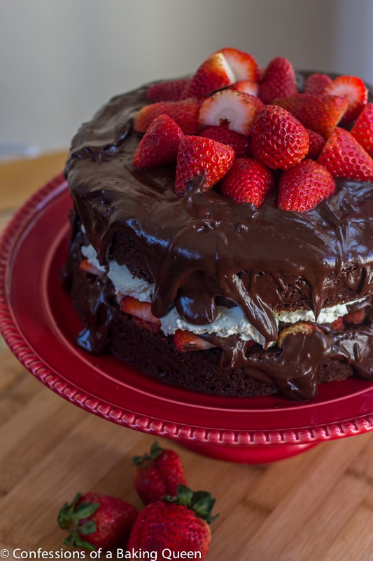 Strawberries & Cream Chocolate Cake www.confessionsofabakingqueen.com