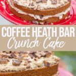 coffee heath bar layer cake on a red cake plate