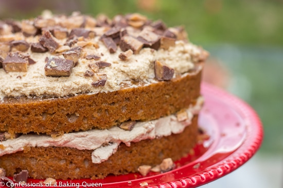 Coffee Heath Bar Crunch Cake on a red cake plate