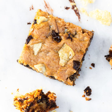 potato chip chocolate chip blondie on a white marble surface